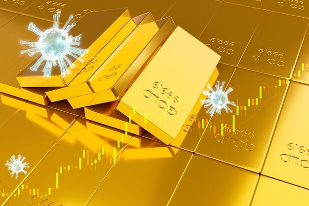 Stapel goudstaven. financieel concept en goudvoorraad beleggen, 3d-afbeeldingsweergave