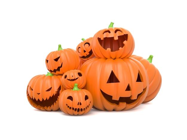 Stapel grappige halloween-pompoenen