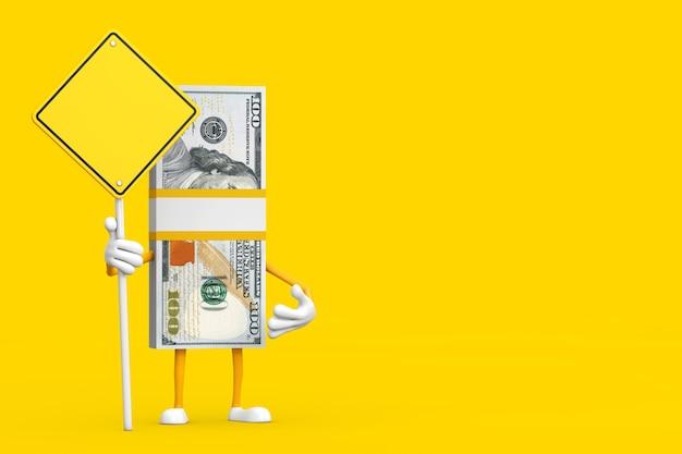 Stapel honderd dollarbiljetten persoon karakter mascotte en gele verkeersbord met vrije ruimte voor jou ontwerp op een gele achtergrond. 3d-rendering