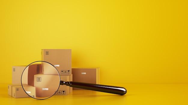 Stapel kartonnen dozen op de vloer op een gele achtergrond met een vergrootglas