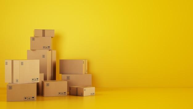 Stapel kartonnen dozen op de vloer op een gele achtergrond