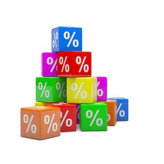 Stapel kleurrijke kubussen met percentagesymbool