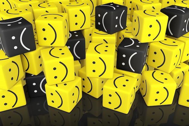 Stapel kubussen met smileygezicht. 3d-weergave.