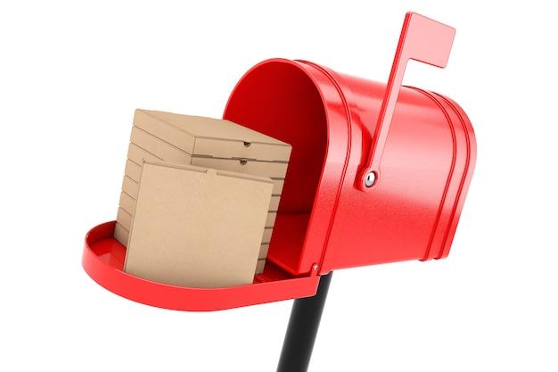 Stapel lege kartonnen pizzadozen in rode brievenbus op een witte achtergrond. 3d-rendering