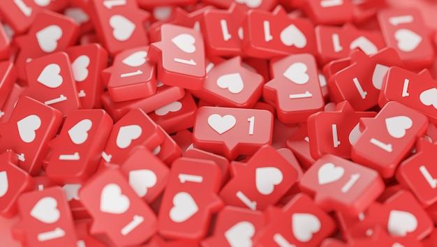 Stapel liefde meldingspictogram 3d-rendering
