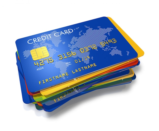Stapel multi gekleurde creditcards