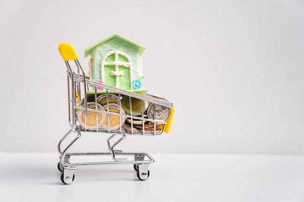 Stapel munten en mini-huis in uw winkelwagen