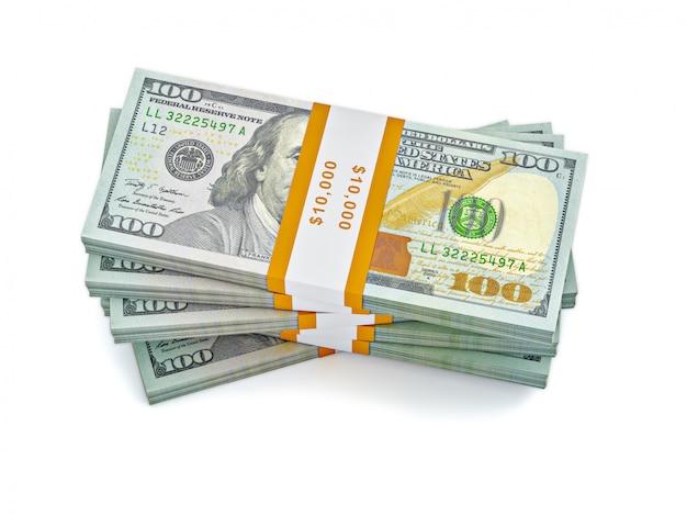 Stapel nieuwe 100 amerikaanse dollars bankbiljetten