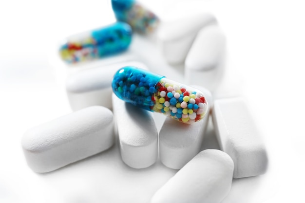 Stapel pillen, close-up