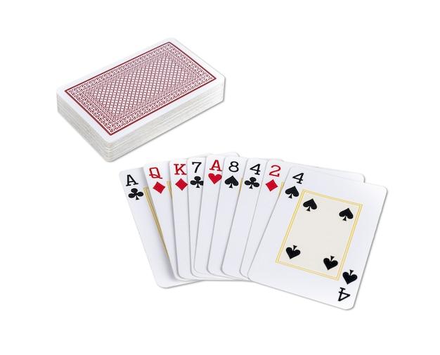 Stapel speelkaarten met enkele kaarten naar boven.