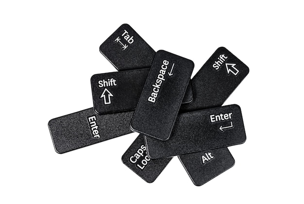 Stapel toetsenbordknoppen op witte achtergrond