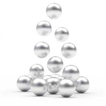Stapel vallende zilveren bollen
