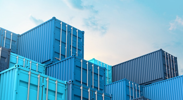 Stapel van blauwe containers doos, vracht vrachtschip voor import export 3d