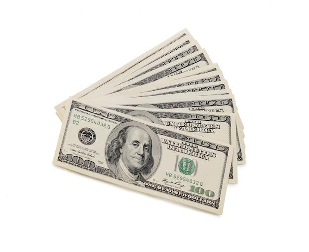 Stapel van honderd dollarbiljetten