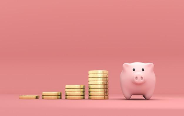 Stapel van munten en spaarvarken