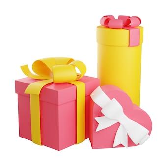 Stapel verpakte geschenkdozen versierd met lint en boog 3d render