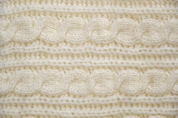 Stapel warme gebreide close-up. wollen gebreide textuur als achtergrond