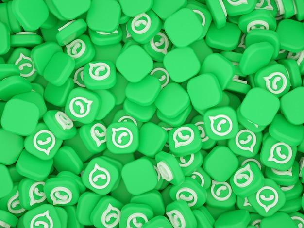 Stapel whatsapp-logo's 3d-achtergrond