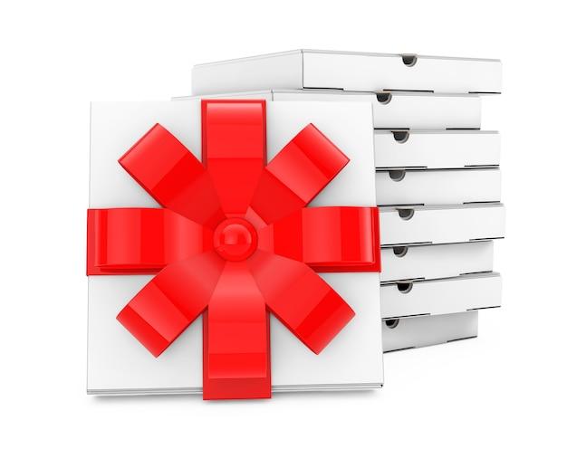 Stapel witte lege kartonnen pizzadozen in de buurt van pizzadoos met rood lint en strik op een witte achtergrond. 3d-rendering