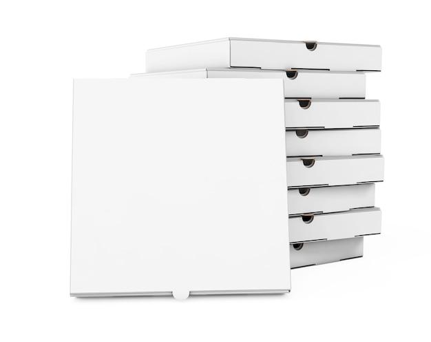 Stapel witte lege kartonnen pizzadozen op een witte achtergrond. 3d-rendering.