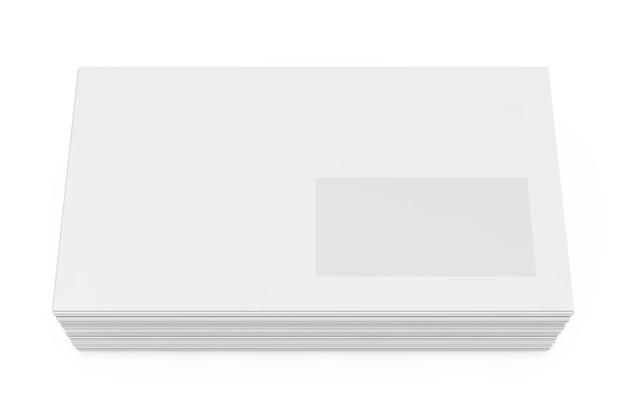 Stapel witte lege vensterenvelop op een witte achtergrond. 3d-rendering