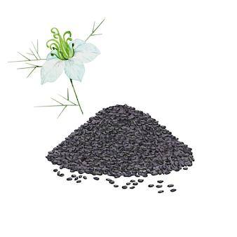 Stapel zwarte zaden en komijnbloem