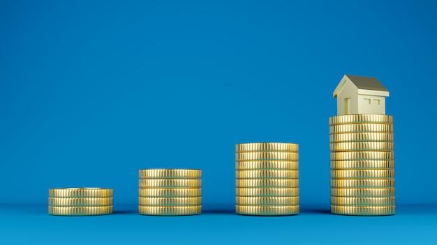Stapels gouden munten met een gouden huismodel