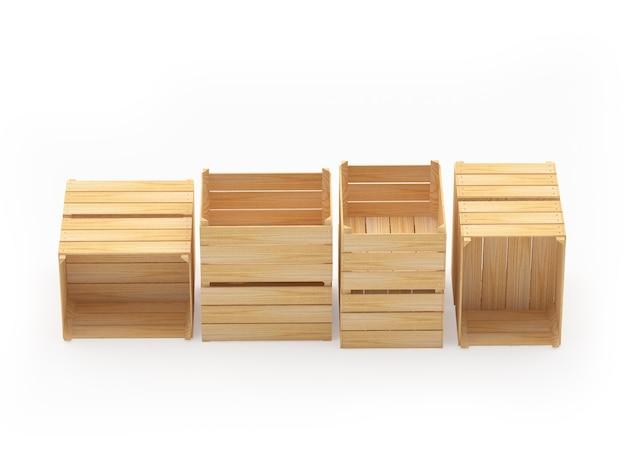 Stapels houten kisten liggen op verschillende posities
