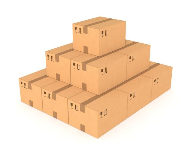 Stapels kartonnen dozen