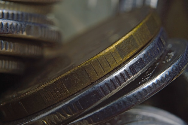Stapels russische roebels munten geschoten close-up. macro.