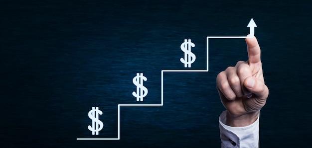 Stappen naar succes en groei van geldconcept