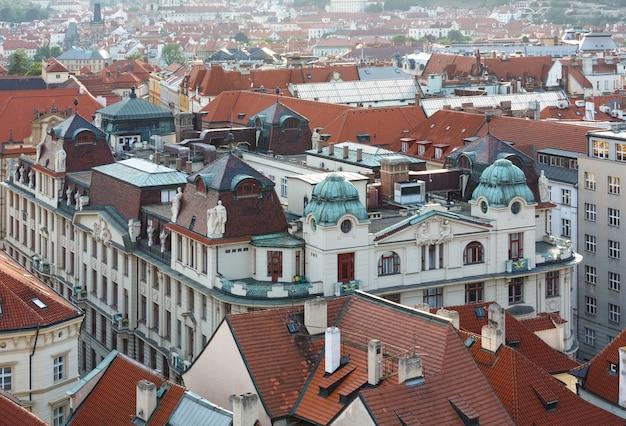 Stare mesto (oude stad) avond uitzicht vanaf boven, praag, tsjechië