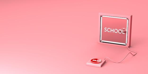 Start schoolknop op een roze achtergrond