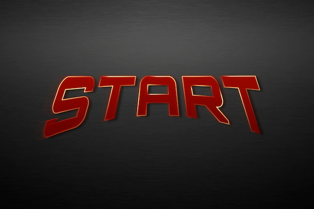 Start tekst in rode superheld typografie illustratie