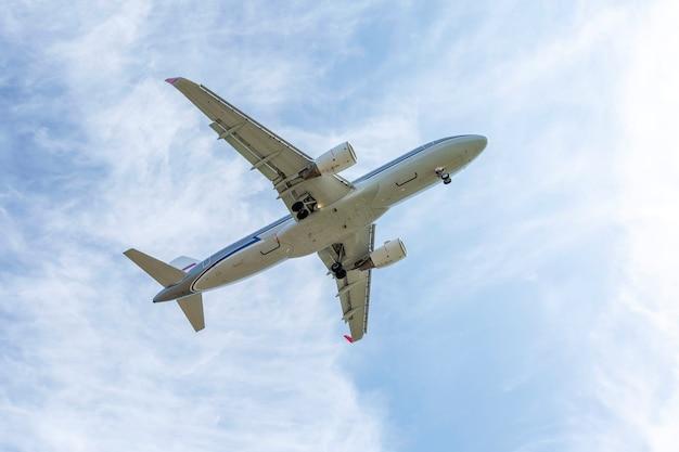 Start vliegtuig in de lucht.