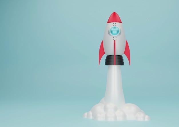Startconcept met raket die op bule-pastelkleurachtergrond vliegen. 3d illustratie.