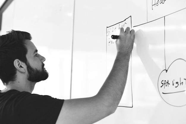 Startende bedrijfsmensen die op witte raad delend planningsstrategie schrijven