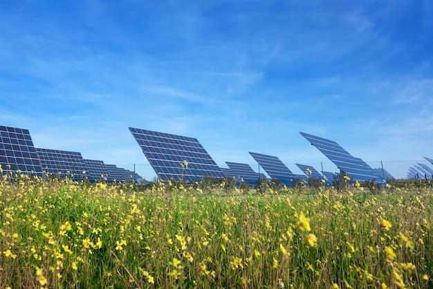 Station zonnepanelen op een prachtig groen gazon. voor de opwekking van elektriciteit.