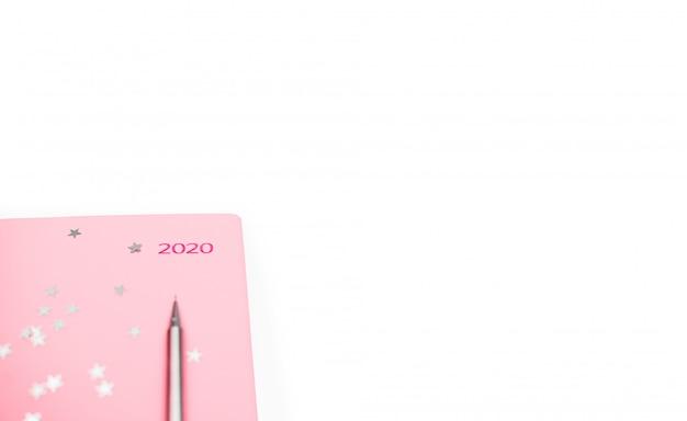 Stationair concept, plat bovenaanzicht foto van potlood en notitieblok op witte achtergrond met kopie ruimte, minimale stijl.