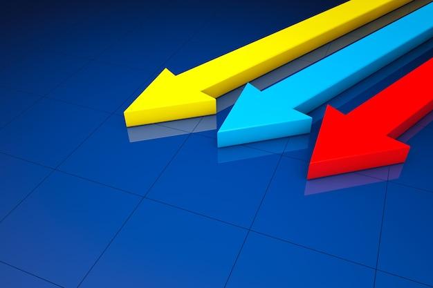 Statistiek bedrijfsconcept. 3d-pijlen op een blauwe achtergrond