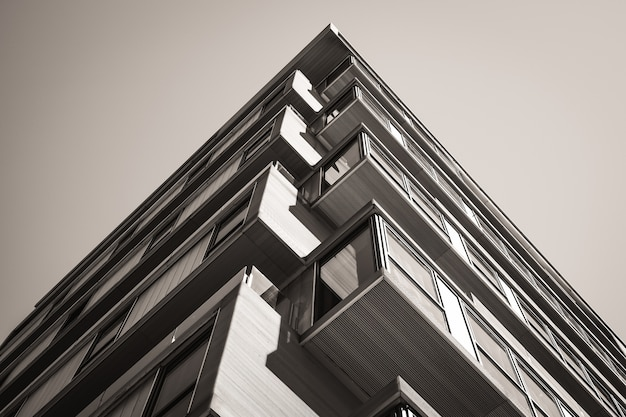 Stedelijk hoekgebouw met balkons