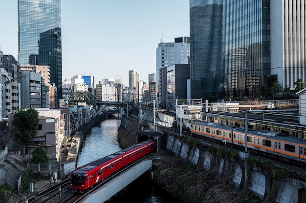 Stedelijk landschap japan treinen