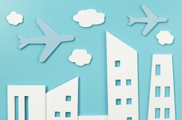 Stedelijk vervoersconcept met platliggende vliegtuigen