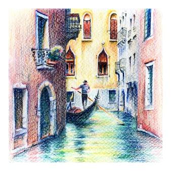Stedelijke schets van gondel in venetië, italië