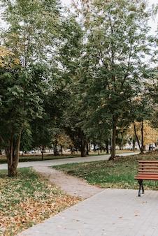 Steegje in de herfst park met een pad gemaakt van straatstenen
