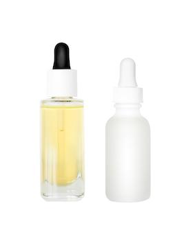 Steekproef van skincare serum en olie die op wit wordt geïsoleerd