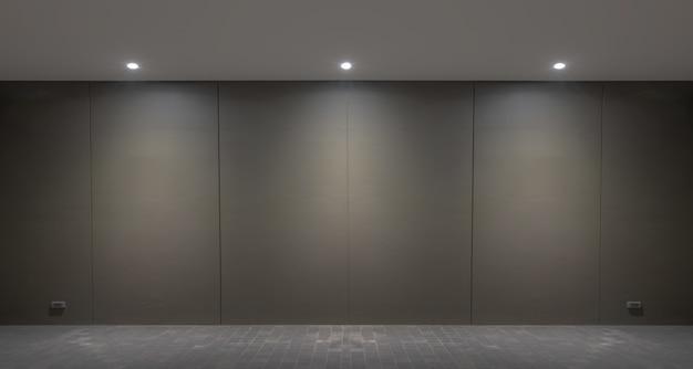 Steekt muur en vloer van lamp op de zwarte muurachtergrond aan