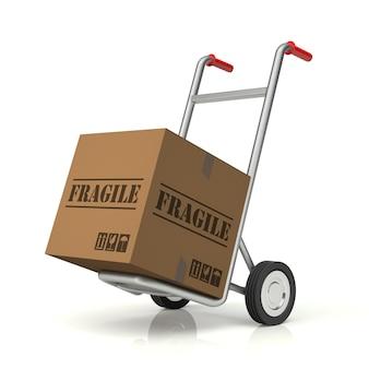 Steekwagen en breekbare kartonnen doos, 3d-rendering