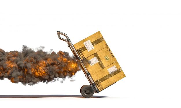 Steekwagen met verschillende percelen met vlammen en rook.
