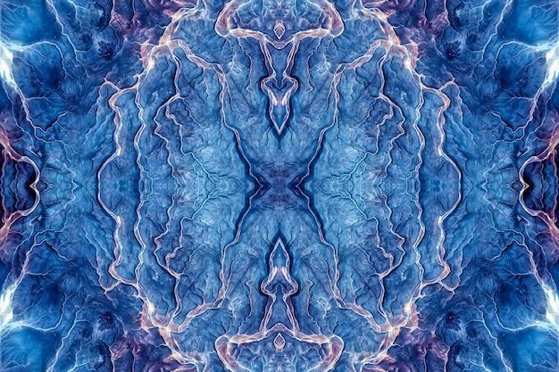Steen agaat lapis lazuli blauw mineraal, marine aquarel marmer, geometrisch gesneden herhalend patroon. illustratie van een ronde steentextuurpatroonachtergrond